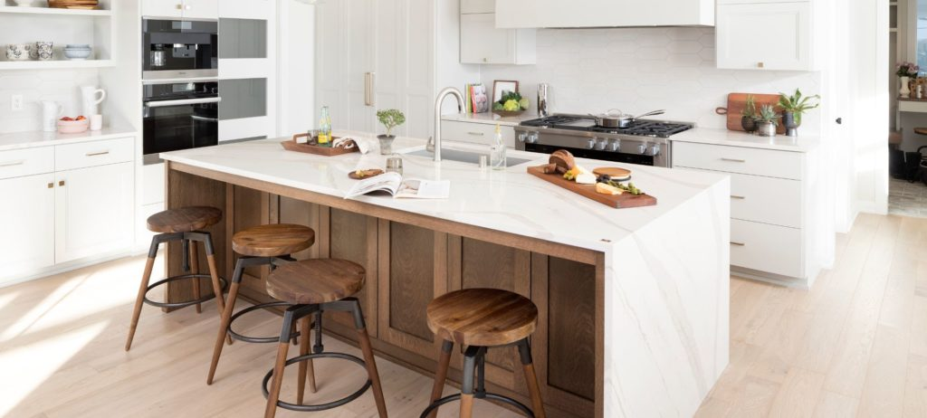 Cambria quartz countertops showing a waterfall edge
