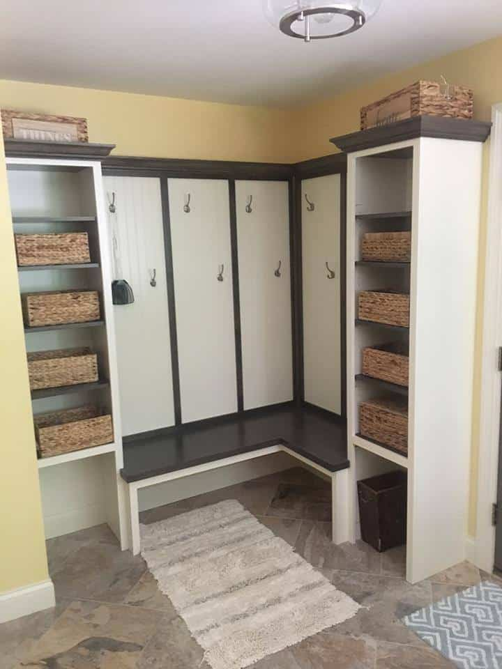 Mudroom lockers and shelves for storage baskets