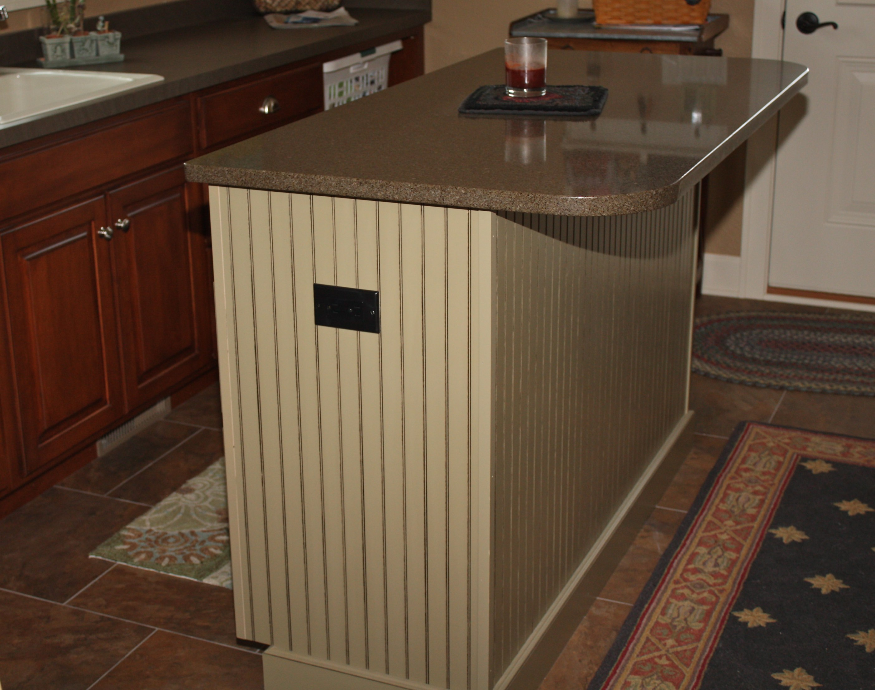 painted kitchen island with quartz