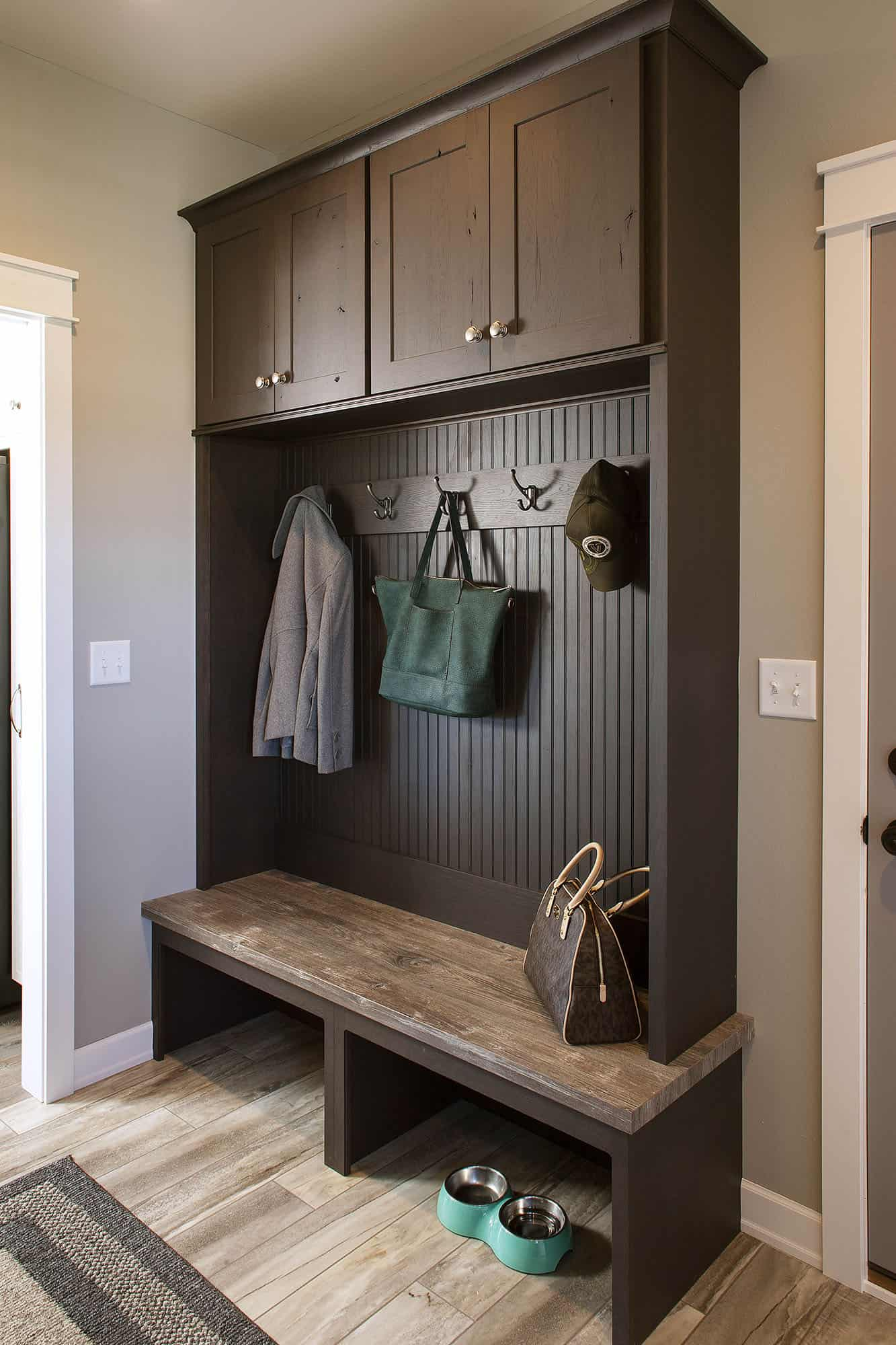 Mudroom wall lockers with coat hooks