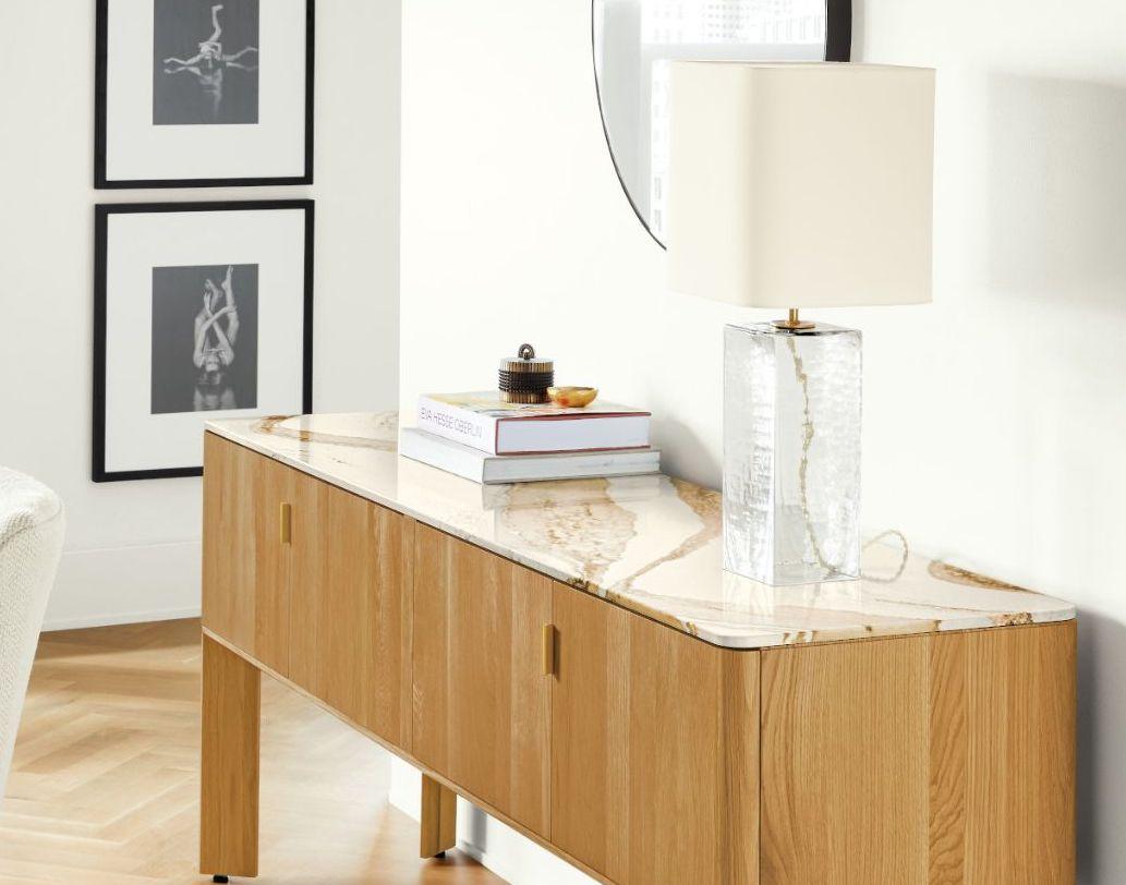 Credenza cabinet with quartz