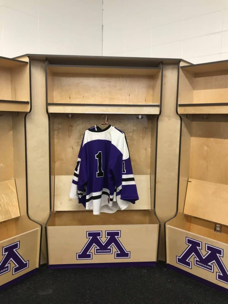 Birch plywood hockey lockers for high school locker rooms
