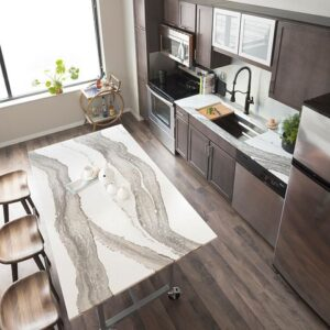 Quartz countertop island in modern kitchen